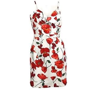 Gianni Bini- white and red floral print dress💃🏼